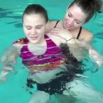 student swimming
